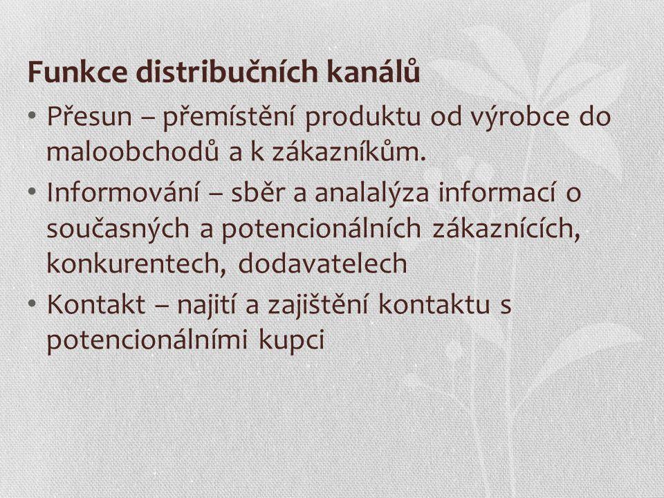 Funkce distribučních kanálů Přesun – přemístění produktu od výrobce do maloobchodů a k zákazníkům. Informování – sběr a analalýza informací o současný
