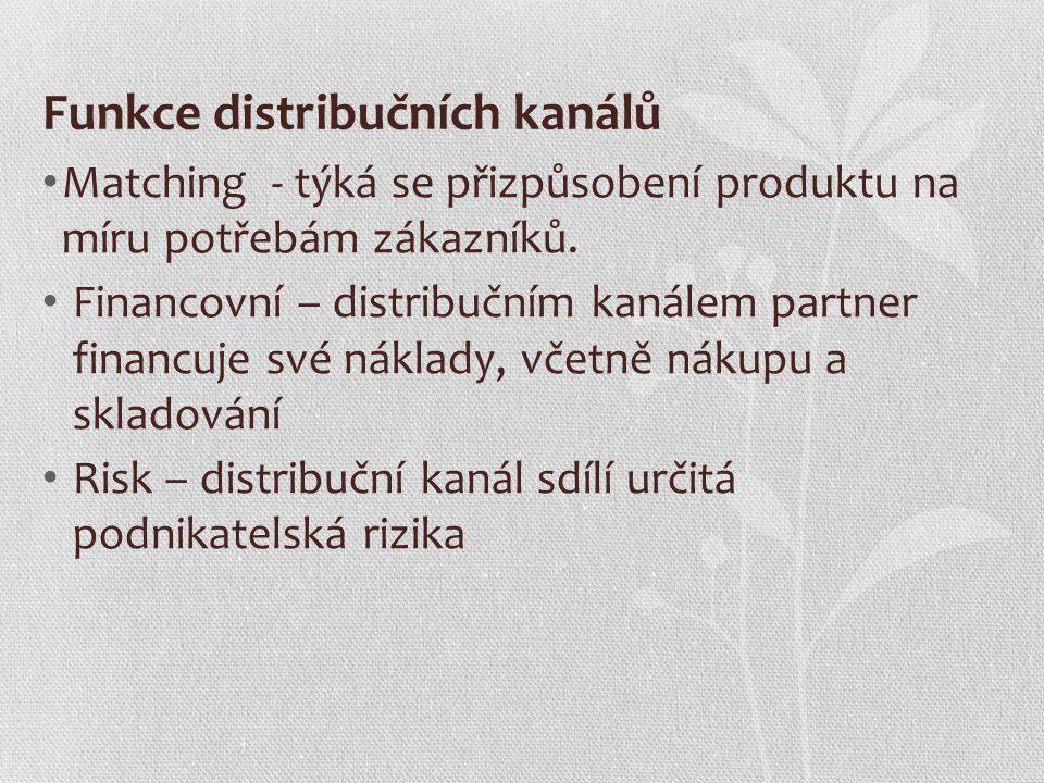 Funkce distribučních kanálů Matching - týká se přizpůsobení produktu na míru potřebám zákazníků. Financovní – distribučním kanálem partner financuje s
