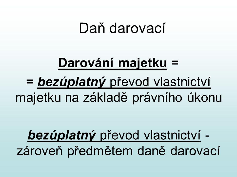 Daň darovací Darování majetku = = bezúplatný převod vlastnictví majetku na základě právního úkonu bezúplatný převod vlastnictví - zároveň předmětem da