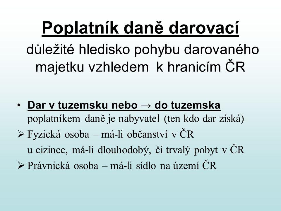 Poplatník daně darovací důležité hledisko pohybu darovaného majetku vzhledem k hranicím ČR Dar v tuzemsku nebo → do tuzemska poplatníkem daně je nabyv