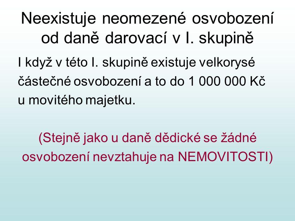 Předmětem daně darovací nejsou: Plnění na základě rozhodnutí stanovené právním předpisem: Vyplácené důchody Vzájemná vyživovací povinnost mezi rodiči a dětmi Podpory, příspěvky a dotace z veřejných rozpočtů ČR i z cizího státu, z rozpočtu EU nebo Národního fondu Bezúplatné nabytí, které je příjmem a podléhá daní z příjmů