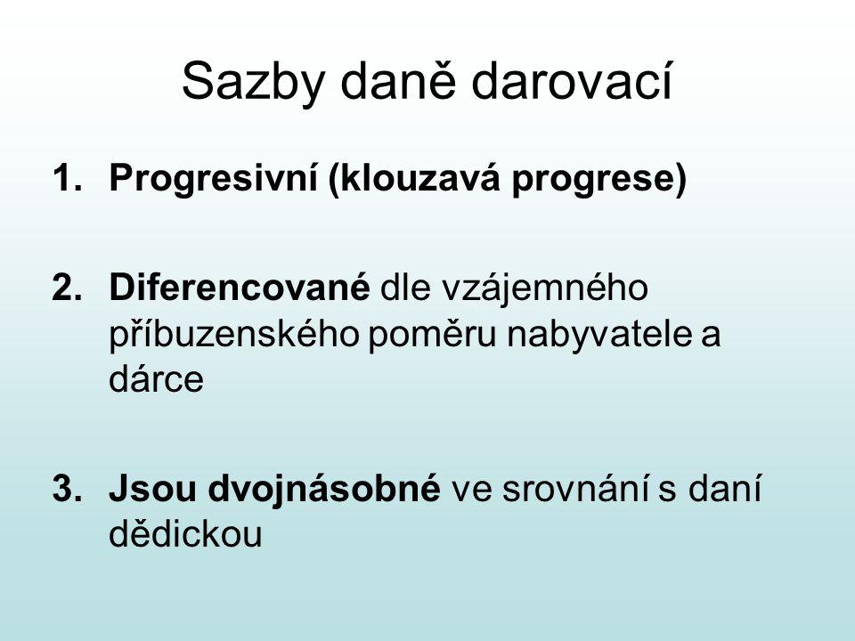 Sazby daně darovací 1.Progresivní (klouzavá progrese) 2.Diferencované dle vzájemného příbuzenského poměru nabyvatele a dárce 3.Jsou dvojnásobné ve sro