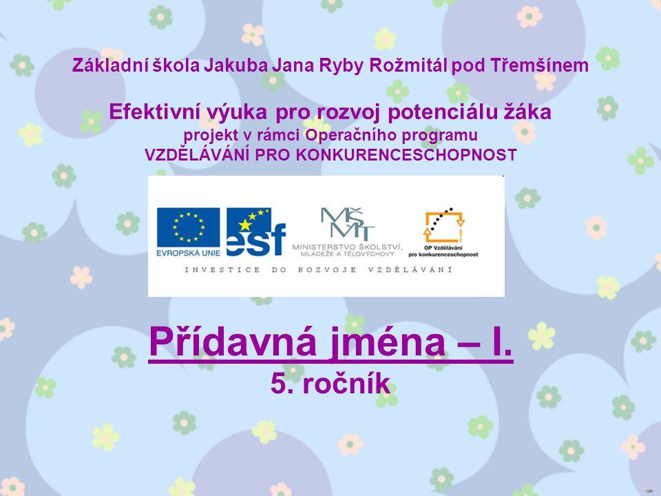 Téma: Přídavná jména I.– 5. ročník Použitý software: držitel licence - ZŠ J.