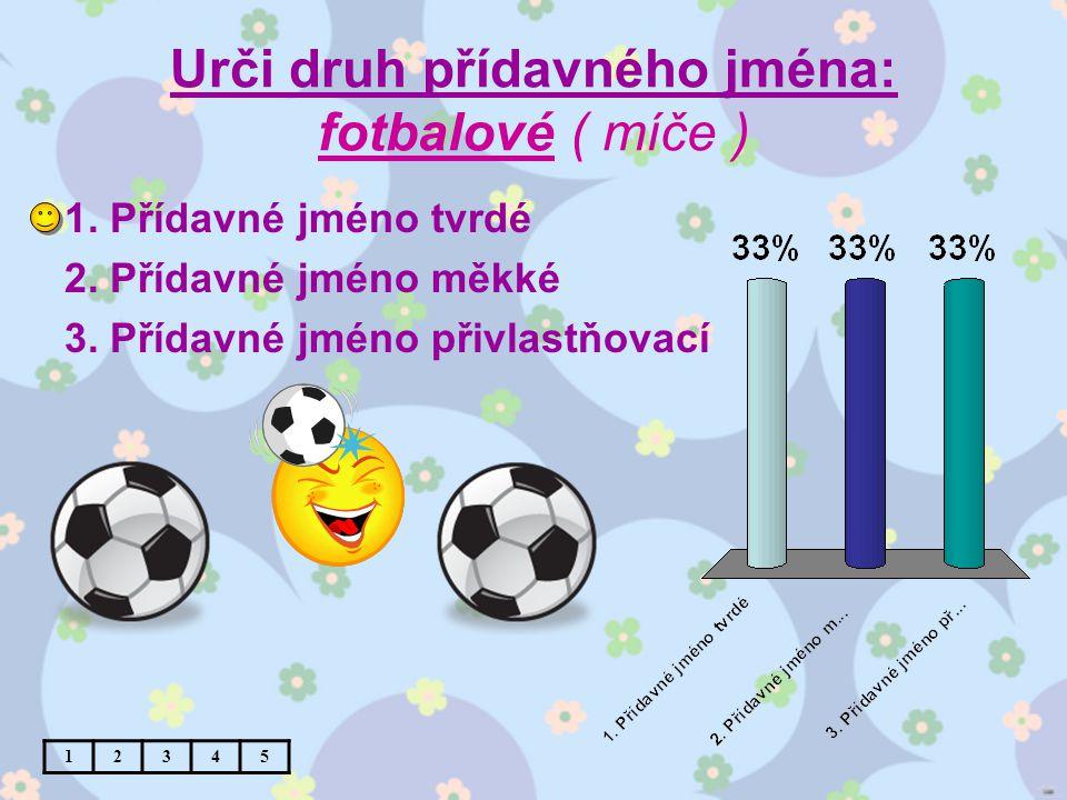 Urči druh přídavného jména: fotbalové ( míče ) 1. Přídavné jméno tvrdé 2.