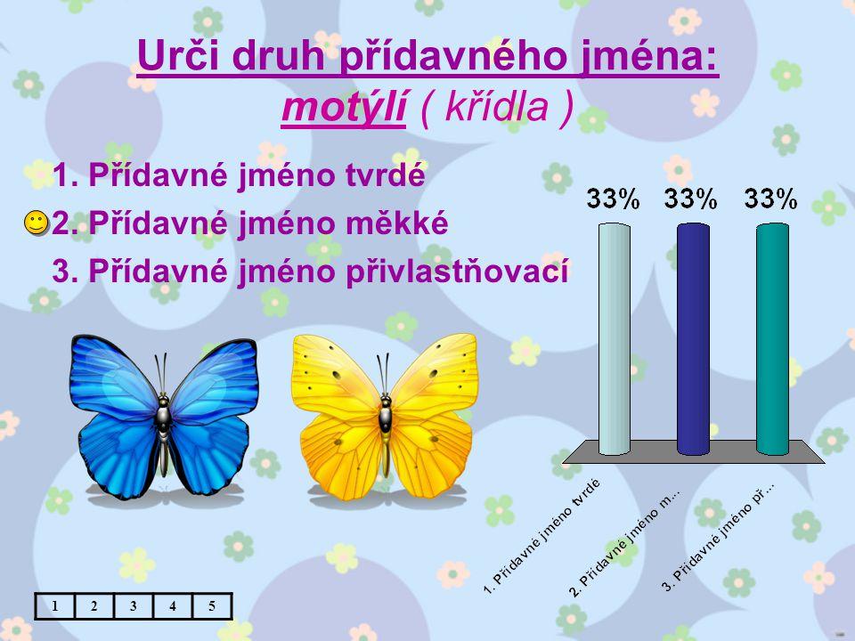 Urči druh přídavného jména: motýlí ( křídla ) 1. Přídavné jméno tvrdé 2.