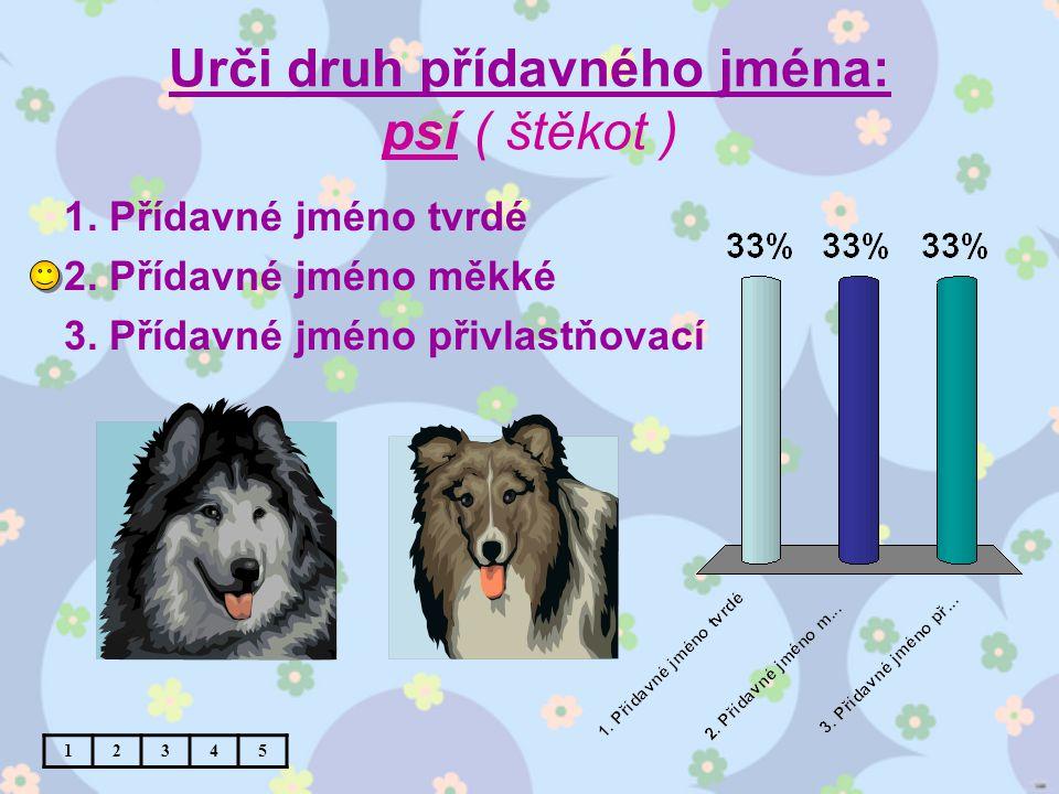 Urči druh přídavného jména: psí ( štěkot ) 1. Přídavné jméno tvrdé 2.