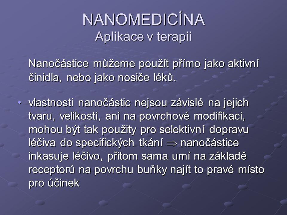 NANOMEDICÍNA Aplikace v terapii Nanočástice můžeme použít přímo jako aktivní činidla, nebo jako nosiče léků. Nanočástice můžeme použít přímo jako akti