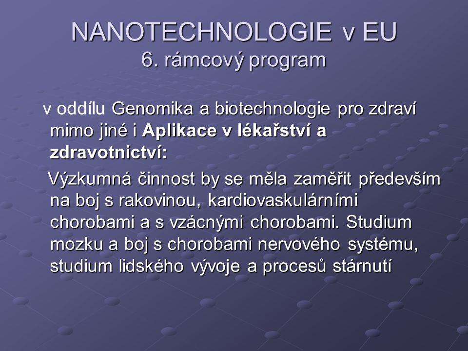 NANOTECHNOLOGIE v EU 6. rámcový program Genomika a biotechnologie pro zdraví mimo jiné i Aplikace v lékařství a zdravotnictví: v oddílu Genomika a bio