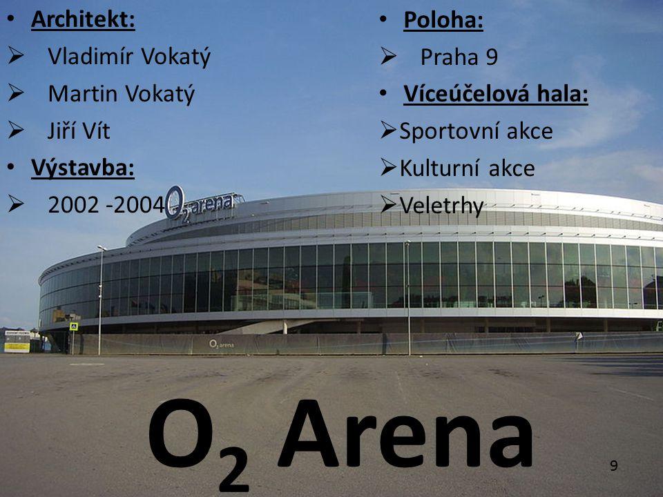 Architekt:  Vladimír Vokatý  Martin Vokatý  Jiří Vít Výstavba:  2002 -2004 Poloha:  Praha 9 Víceúčelová hala:  Sportovní akce  Kulturní akce  Veletrhy O 2 Arena 9