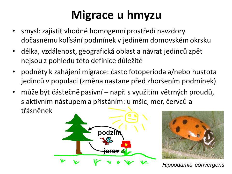 Migrace u hmyzu jaro podzim smysl: zajistit vhodné homogenní prostředí navzdory dočasnému kolísání podmínek v jediném domovském okrsku délka, vzdáleno