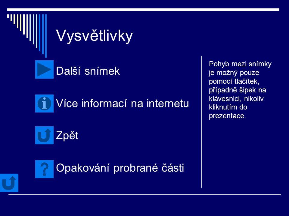 Vysvětlivky Další snímek Více informací na internetu Zpět Opakování probrané části Pohyb mezi snímky je možný pouze pomocí tlačítek, případně šipek na