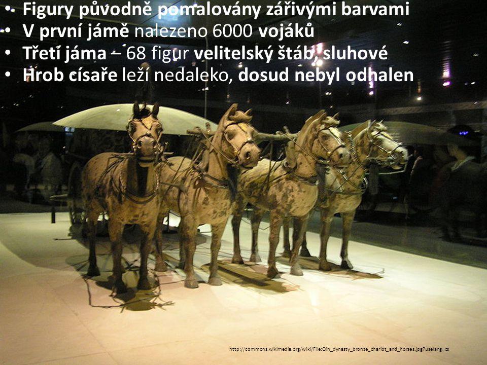 Figury původně pomalovány zářivými barvami V první jámě nalezeno 6000 vojáků Třetí jáma – 68 figur velitelský štáb, sluhové Hrob císaře leží nedaleko, dosud nebyl odhalen http://commons.wikimedia.org/wiki/File:Qin_dynasty_bronze_chariot_and_horses.jpg?uselang=cs