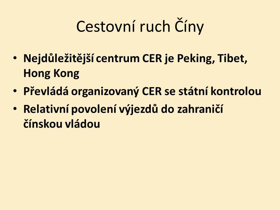 Cestovní ruch Číny Nejdůležitější centrum CER je Peking, Tibet, Hong Kong Převládá organizovaný CER se státní kontrolou Relativní povolení výjezdů do zahraničí čínskou vládou