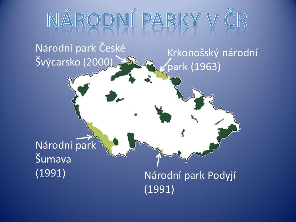 Národní park České Švýcarsko (2000) Krkonošský národní park (1963) Národní park Podyjí (1991) Národní park Šumava (1991)