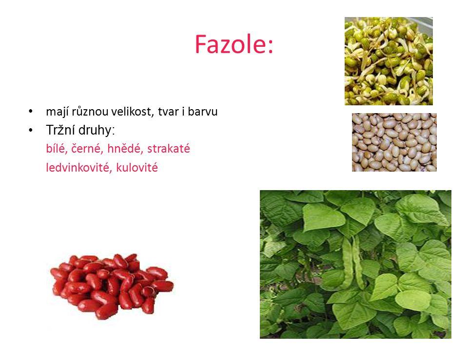Čočka: Tržní druhy: velkozrnnou a drobnozrnnou žlutá, oranžová, hnědá, zelená nebo černá (kuželovitá, francouzská, nerozváří se)