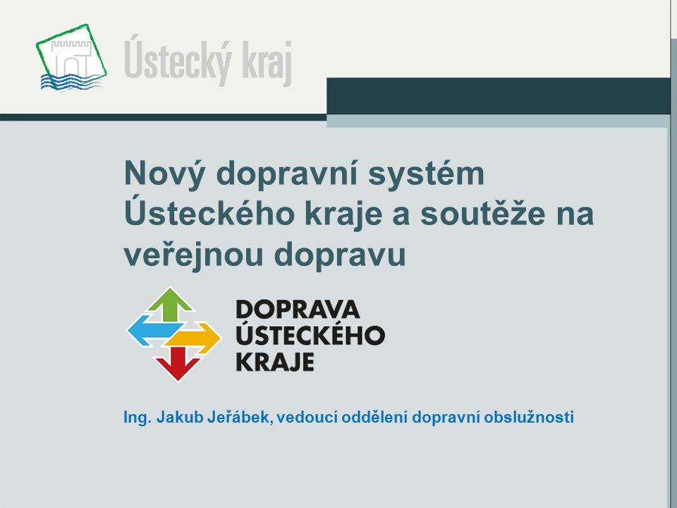 Nový dopravní systém Ústeckého kraje a soutěže na veřejnou dopravu Ing. Jakub Jeřábek, vedoucí oddělení dopravní obslužnosti