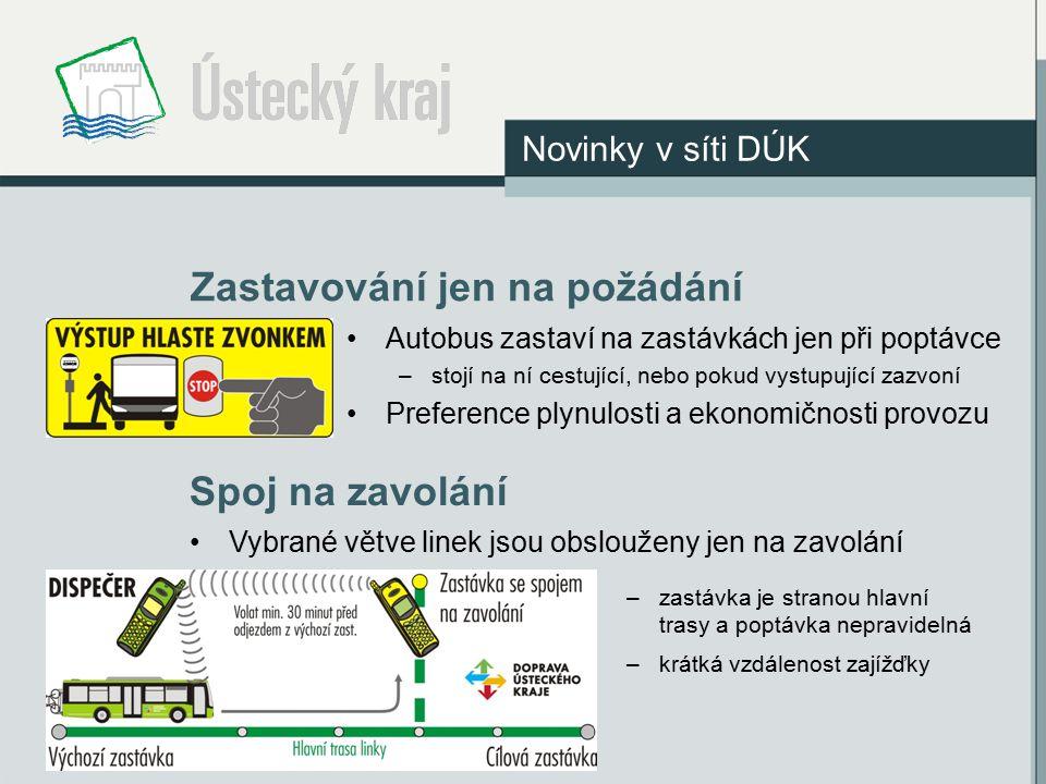 Zastavování jen na požádání Novinky v síti DÚK Autobus zastaví na zastávkách jen při poptávce –stojí na ní cestující, nebo pokud vystupující zazvoní P
