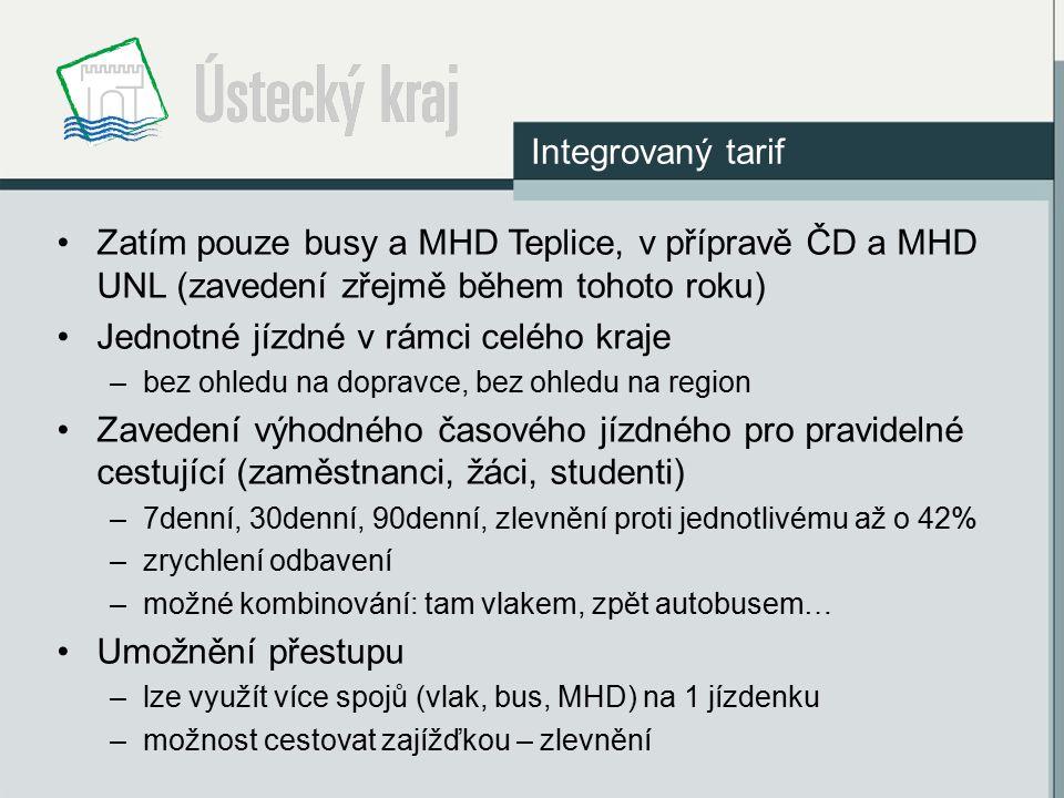 Zatím pouze busy a MHD Teplice, v přípravě ČD a MHD UNL (zavedení zřejmě během tohoto roku) Jednotné jízdné v rámci celého kraje –bez ohledu na doprav