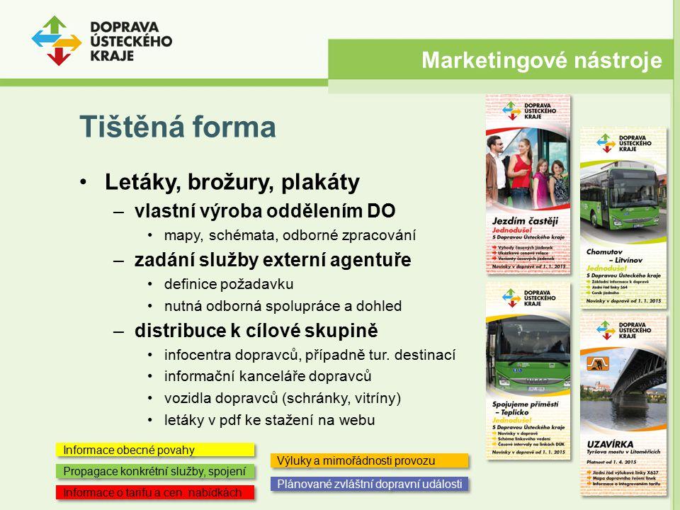 Tištěná forma Letáky, brožury, plakáty –vlastní výroba oddělením DO mapy, schémata, odborné zpracování –zadání služby externí agentuře definice požada