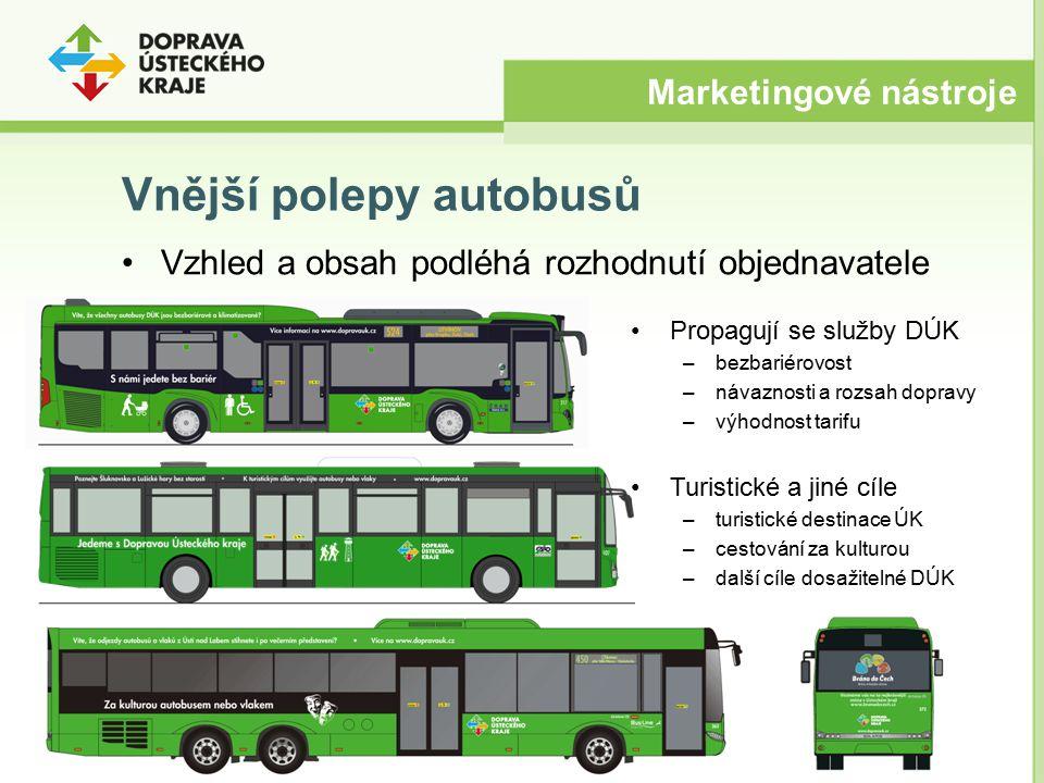 Vnější polepy autobusů Vzhled a obsah podléhá rozhodnutí objednavatele Marketingové nástroje Propagují se služby DÚK –bezbariérovost –návaznosti a roz