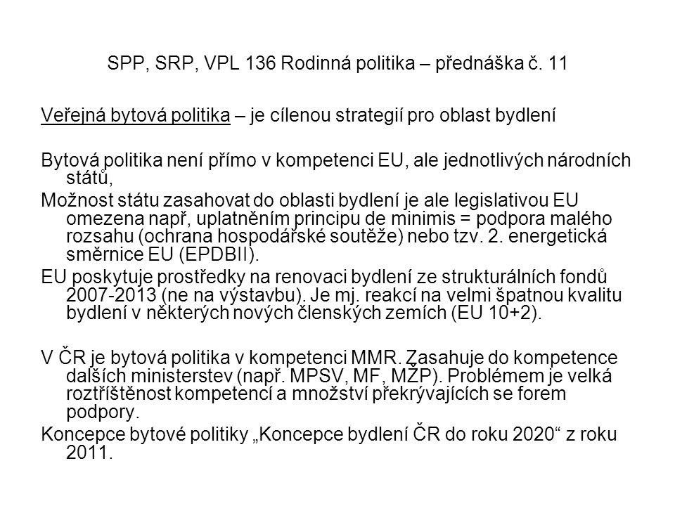 Veřejná bytová politika – je cílenou strategií pro oblast bydlení Bytová politika není přímo v kompetenci EU, ale jednotlivých národních států, Možnost státu zasahovat do oblasti bydlení je ale legislativou EU omezena např, uplatněním principu de minimis = podpora malého rozsahu (ochrana hospodářské soutěže) nebo tzv.