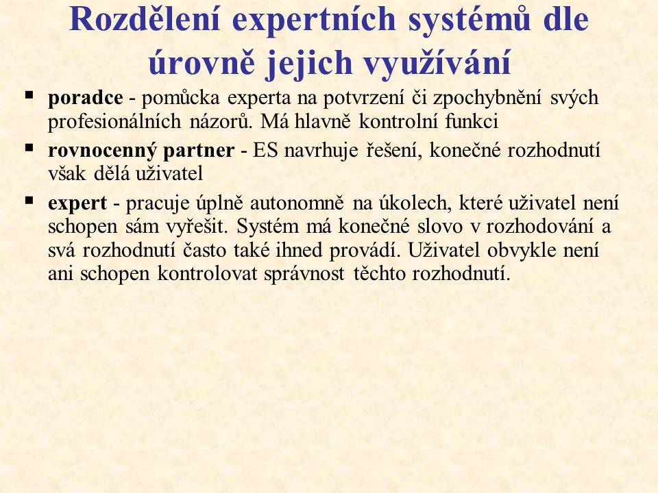 Historie vývoje ES Poté, co při řešení praktických problémů selhaly obecné metody řešení, byla pochopena nutnost využívat specifické (expertní) znalos