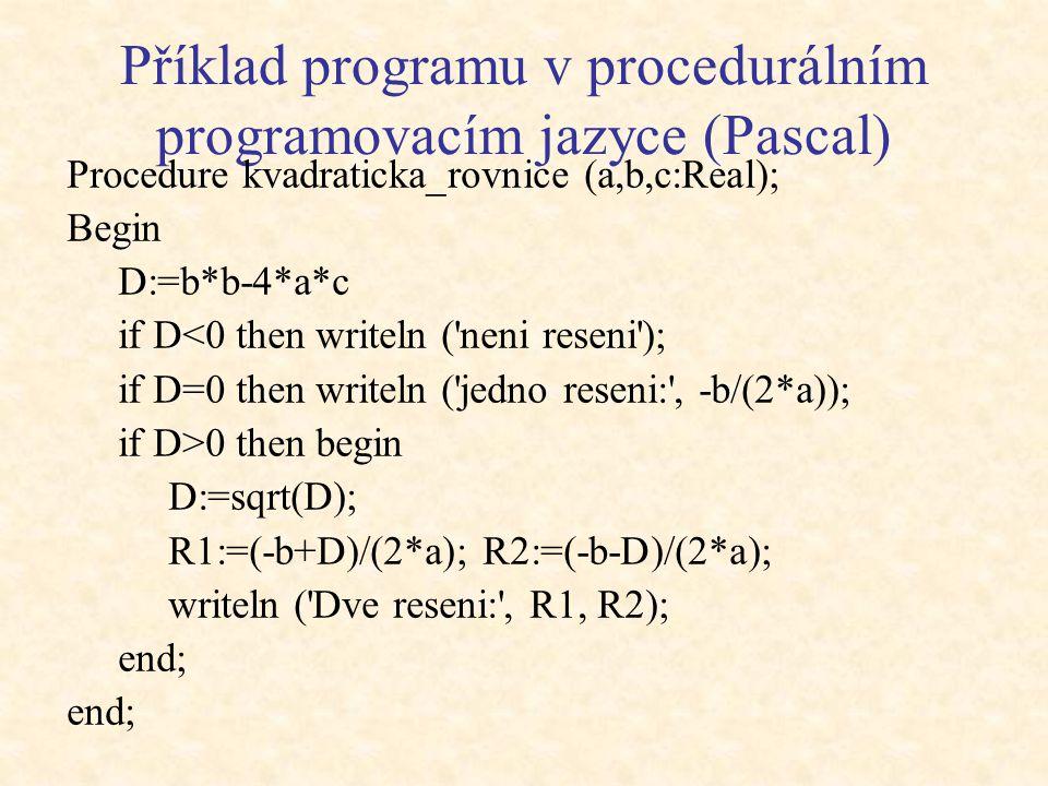 Procedurální (klasické) programování Popisuje algoritmus – postup, jak vyřešit úlohu