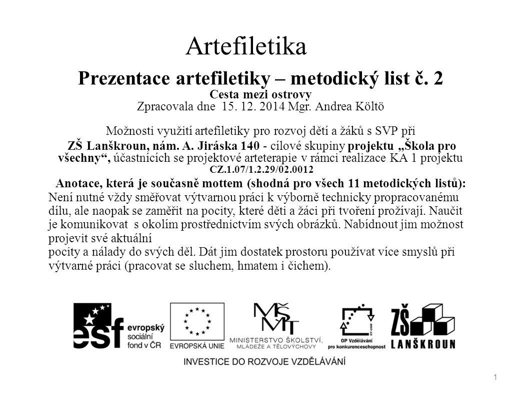 Artefiletika Prezentace artefiletiky – metodický list č. 2 Cesta mezi ostrovy Zpracovala dne 15. 12. 2014 Mgr. Andrea Költö Možnosti využití artefilet