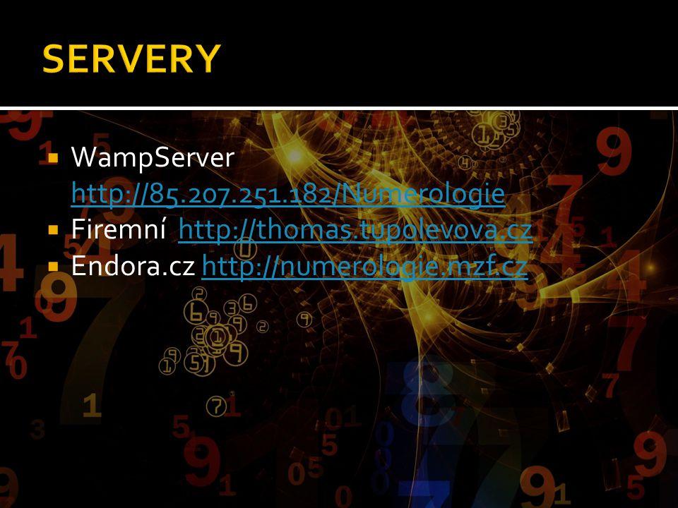  WampServer http://85.207.251.182/Numerologie http://85.207.251.182/Numerologie  Firemní http://thomas.tupolevova.czhttp://thomas.tupolevova.cz  En