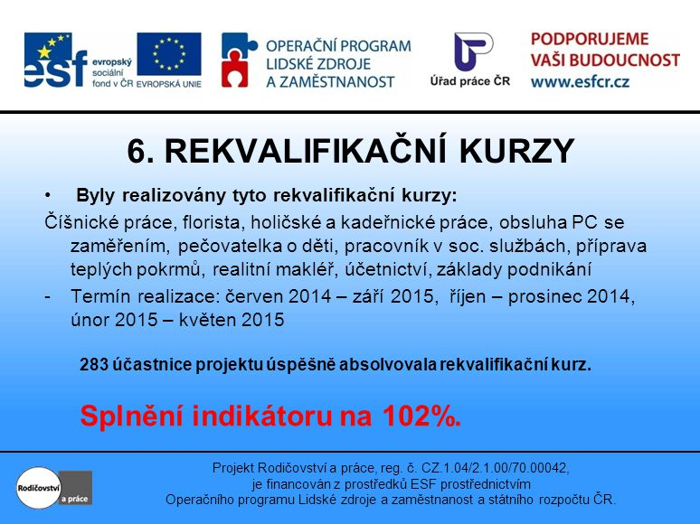 Projekt Rodičovství a práce, reg. č.