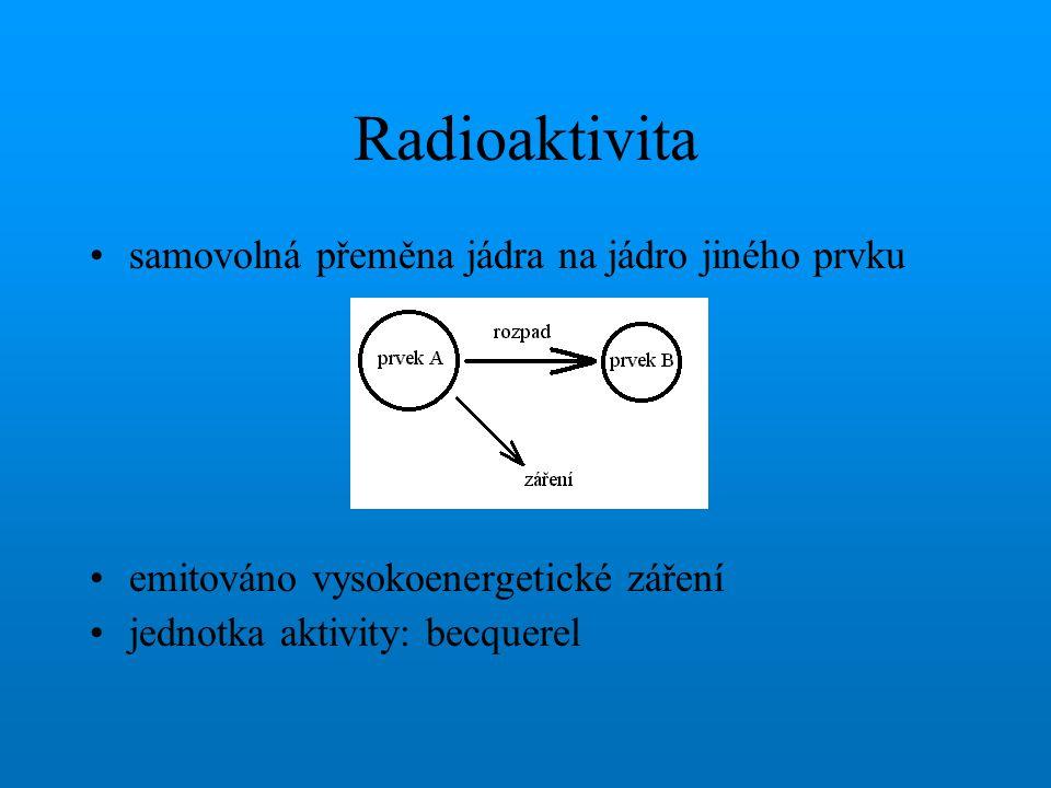 Radioaktivita samovolná přeměna jádra na jádro jiného prvku emitováno vysokoenergetické záření jednotka aktivity: becquerel