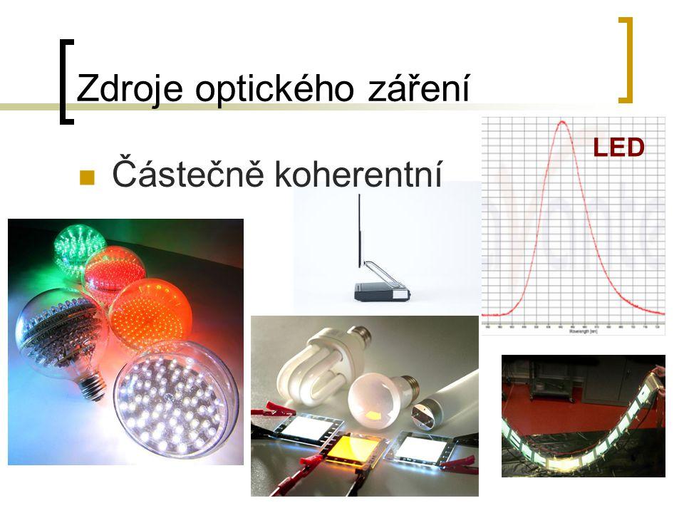 Zdroje optického záření Částečně koherentní LED