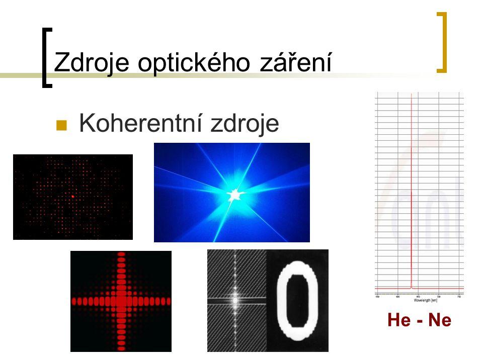 Zdroje optického záření Koherentní zdroje He - Ne