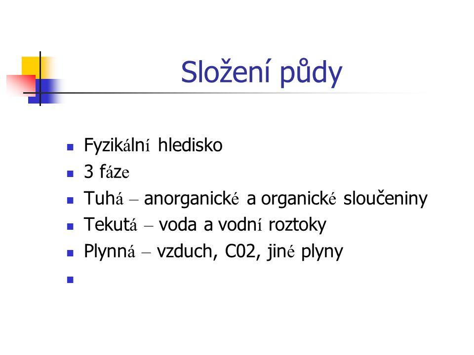 Složení půdy Fyzik á ln í hledisko 3 f á z e Tuh á – anorganick é a organick é sloučeniny Tekut á – voda a vodn í roztoky Plynn á – vzduch, C02, jin é