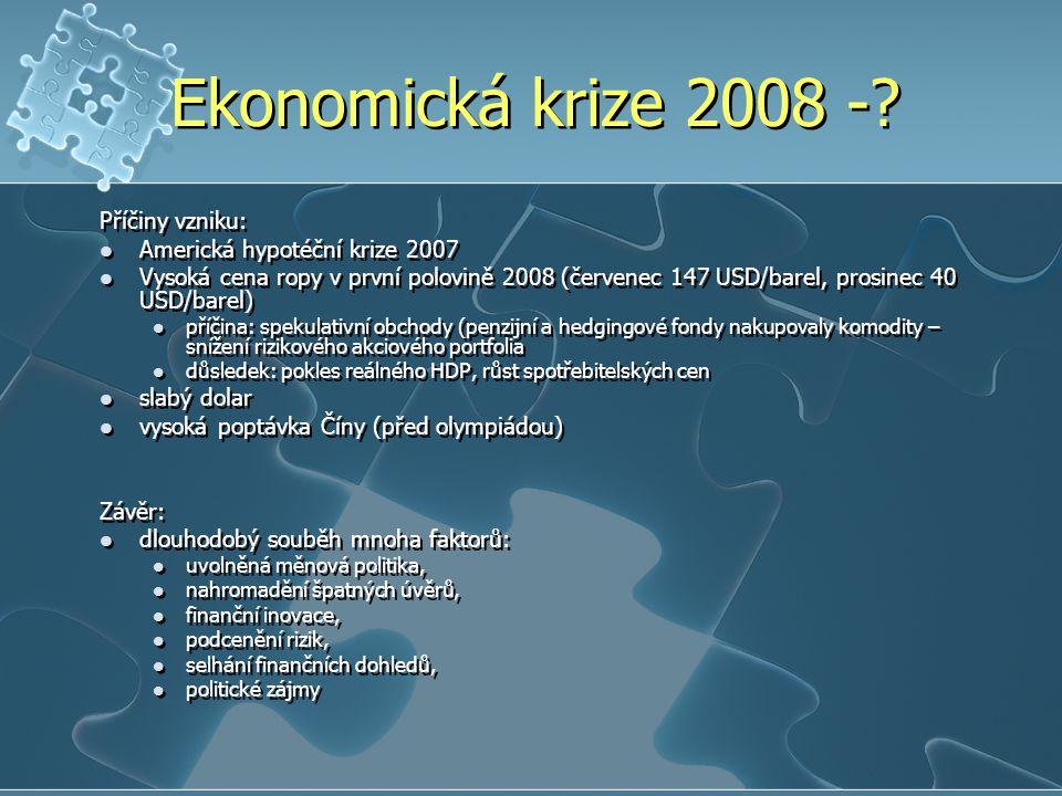 Ekonomická krize 2008 -.