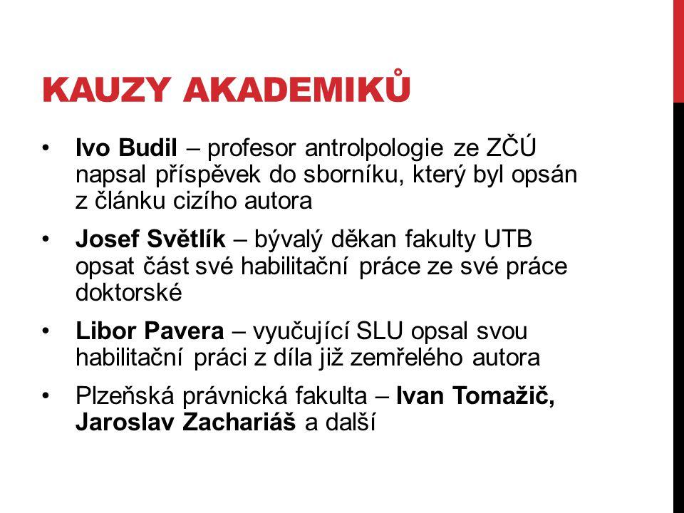 KAUZY AKADEMIKŮ Ivo Budil – profesor antrolpologie ze ZČÚ napsal příspěvek do sborníku, který byl opsán z článku cizího autora Josef Světlík – bývalý