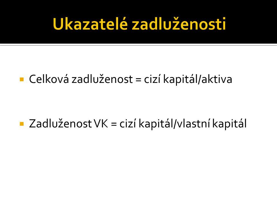  Celková zadluženost = cizí kapitál/aktiva  Zadluženost VK = cizí kapitál/vlastní kapitál