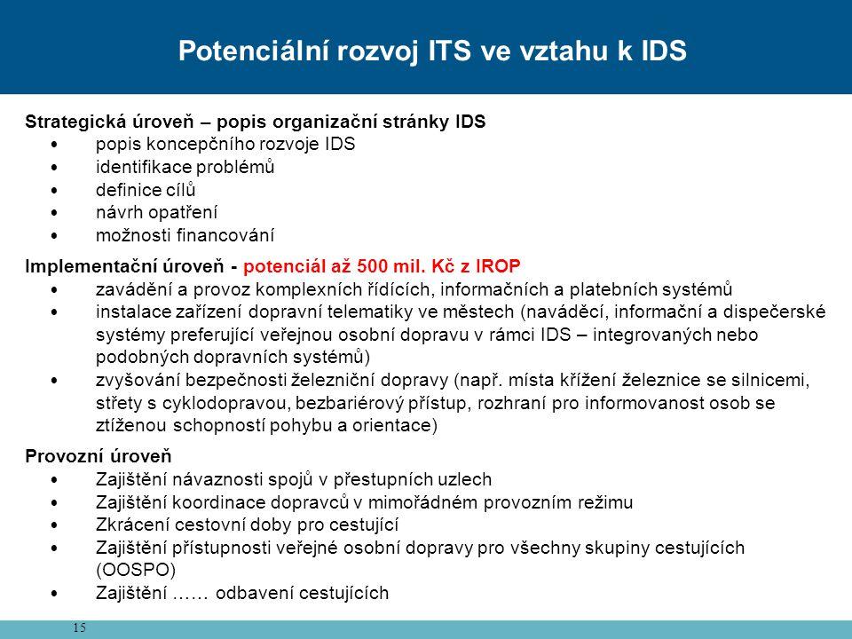 15 Potenciální rozvoj ITS ve vztahu k IDS Strategická úroveň – popis organizační stránky IDS popis koncepčního rozvoje IDS identifikace problémů definice cílů návrh opatření možnosti financování Implementační úroveň - potenciál až 500 mil.
