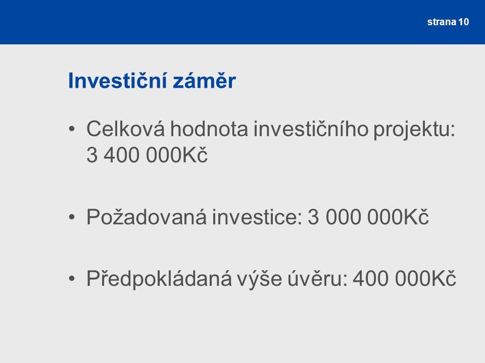 Investiční záměr Celková hodnota investičního projektu: 3 400 000Kč Požadovaná investice: 3 000 000Kč Předpokládaná výše úvěru: 400 000Kč strana 10