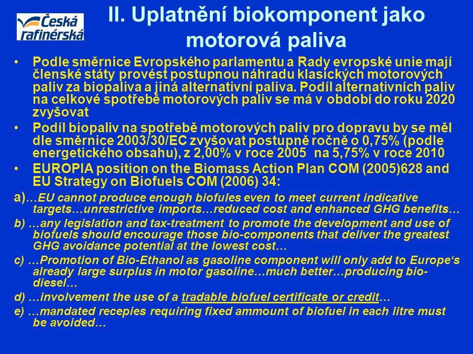 II. Uplatnění biokomponent jako motorová paliva Podle směrnice Evropského parlamentu a Rady evropské unie mají členské státy provést postupnou náhradu