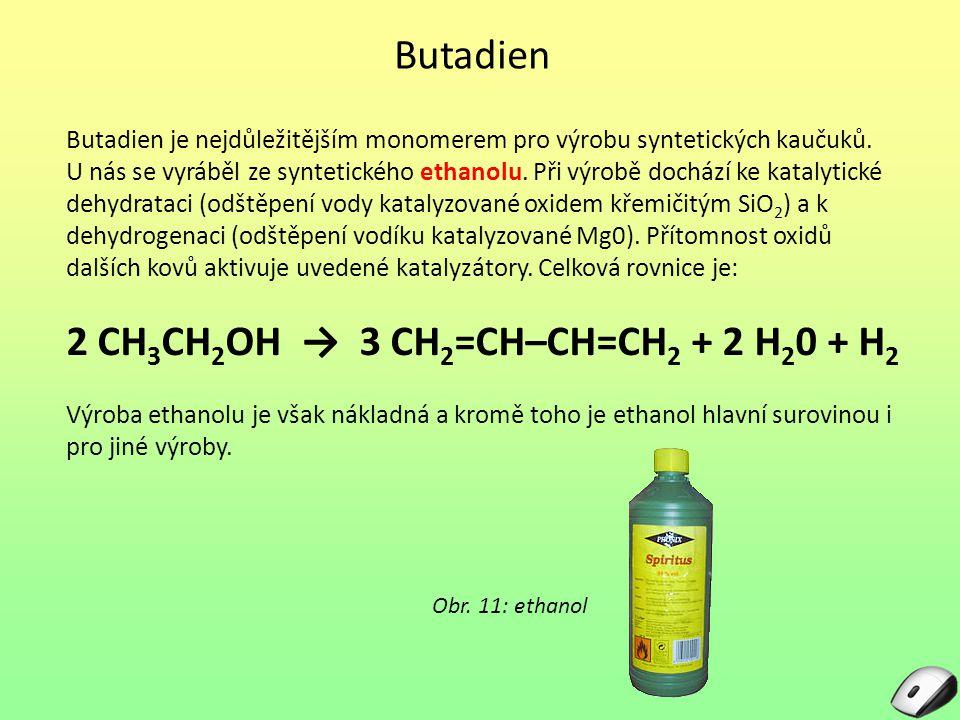 Butadien Butadien je nejdůležitějším monomerem pro výrobu syntetických kaučuků.