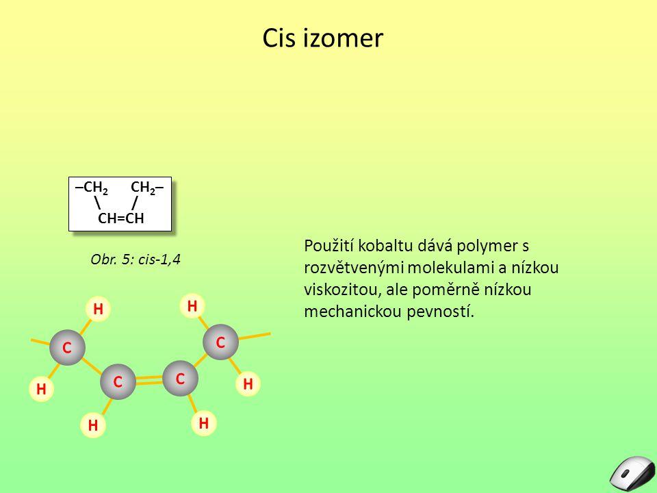 Trans izomer Kaučuk s vysokým obsahem trans je silně krystalický a podobný jako trans polyizoprén či balata Používá se na výrobu golfových míčků spotřeba v roce 1999 – 20.000 tun Obr.