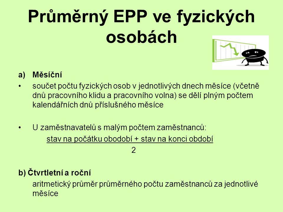 Průměrný EPP ve fyzických osobách a)Měsíční součet počtu fyzických osob v jednotlivých dnech měsíce (včetně dnů pracovního klidu a pracovního volna) s