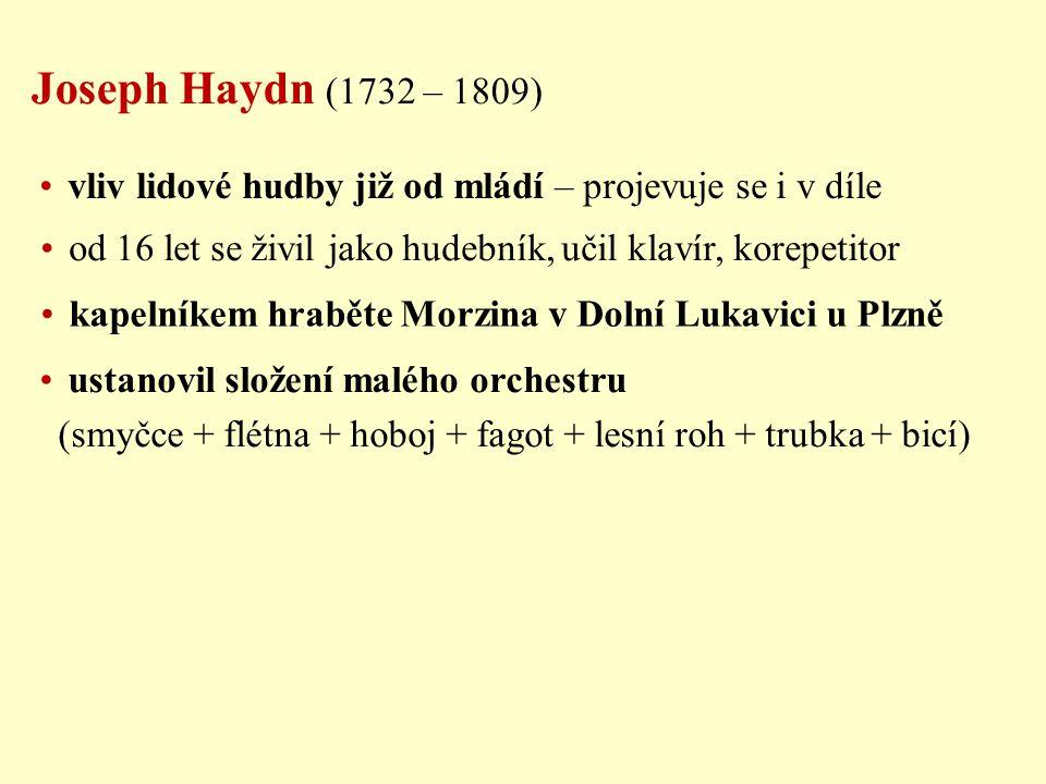 Joseph Haydn (1732 – 1809) vliv lidové hudby již od mládí – projevuje se i v díle od 16 let se živil jako hudebník, učil klavír, korepetitor kapelníke