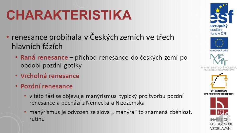 """CHARAKTERISTIKA renesance probíhala v Českých zemích ve třech hlavních fázích Raná renesance – příchod renesance do českých zemí po období pozdní gotiky Vrcholná renesance Pozdní renesance v této fázi se objevuje manýrismus typický pro tvorbu pozdní renesance a pochází z Německa a Nizozemska manýrismus je odvozen ze slova """" manýra to znamená zběhlost, rutinu"""