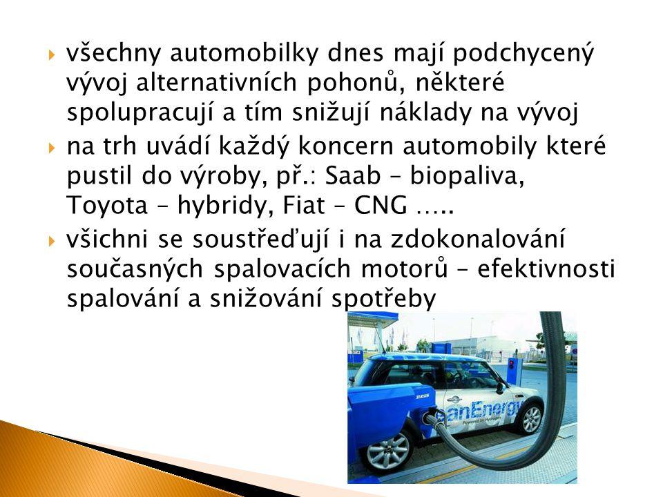  všechny automobilky dnes mají podchycený vývoj alternativních pohonů, některé spolupracují a tím snižují náklady na vývoj  na trh uvádí každý konce