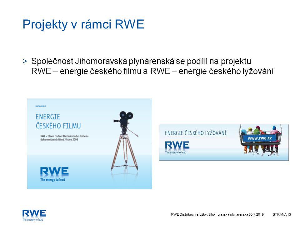 RWE Distribuční služby, Jihomoravská plynárenská 30.7.2015STRANA 13 Projekty v rámci RWE >Společnost Jihomoravská plynárenská se podílí na projektu RWE – energie českého filmu a RWE – energie českého lyžování