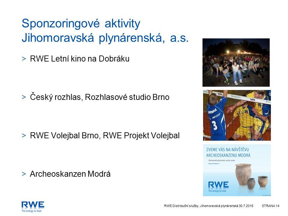 RWE Distribuční služby, Jihomoravská plynárenská 30.7.2015STRANA 14 Sponzoringové aktivity Jihomoravská plynárenská, a.s. >RWE Letní kino na Dobráku >