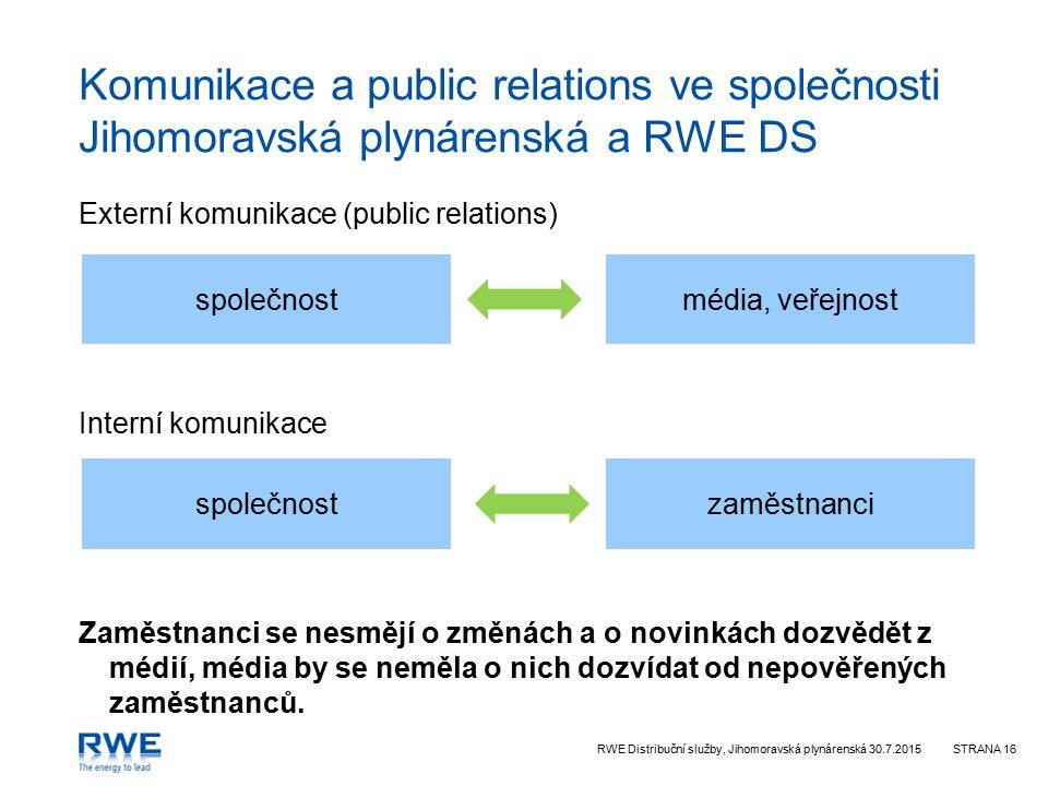 RWE Distribuční služby, Jihomoravská plynárenská 30.7.2015STRANA 16 Komunikace a public relations ve společnosti Jihomoravská plynárenská a RWE DS Externí komunikace (public relations) Interní komunikace Zaměstnanci se nesmějí o změnách a o novinkách dozvědět z médií, média by se neměla o nich dozvídat od nepověřených zaměstnanců.