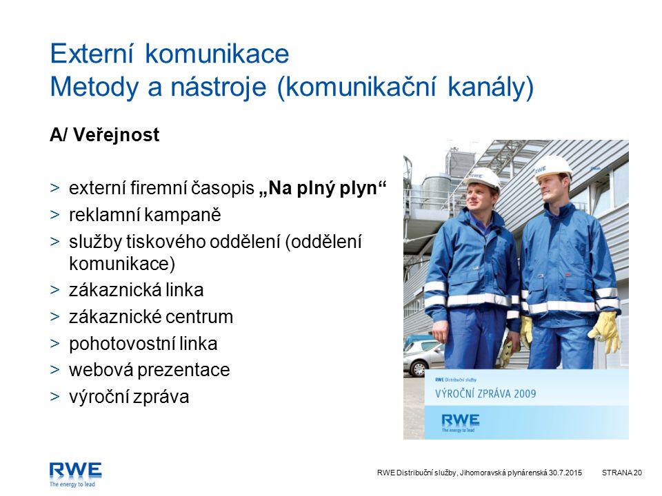 RWE Distribuční služby, Jihomoravská plynárenská 30.7.2015STRANA 20 Externí komunikace Metody a nástroje (komunikační kanály) A/ Veřejnost >externí fi